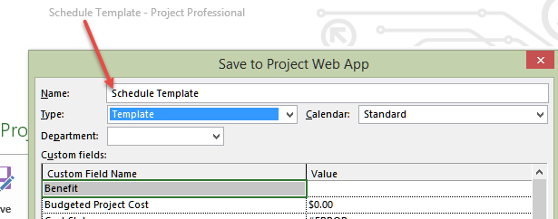 save to project web app