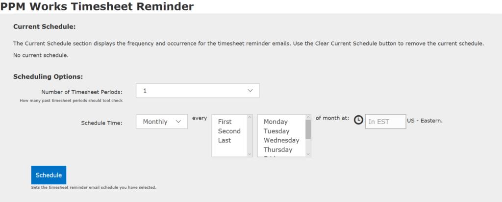 current schedule