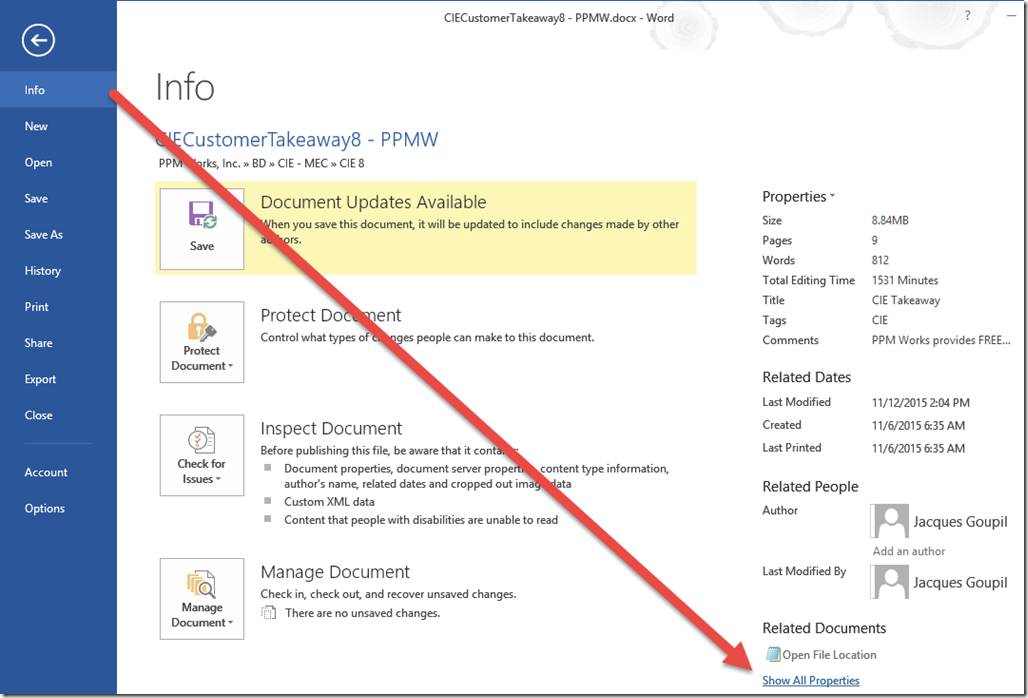 Document Information Panel is Missing in Office 2016 | PPM Works Blog
