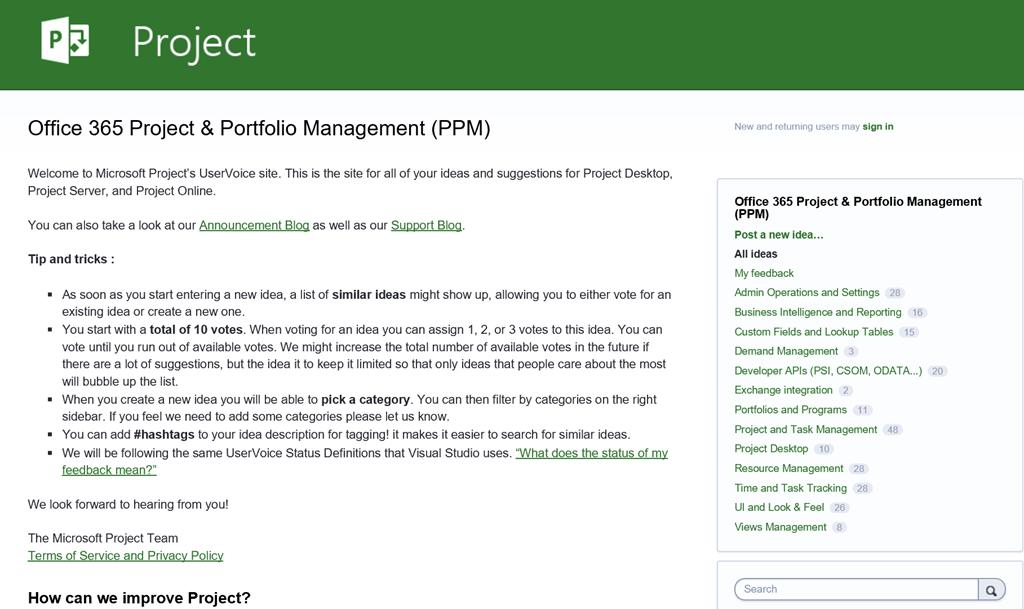 Microsoft Project: User Voice Site