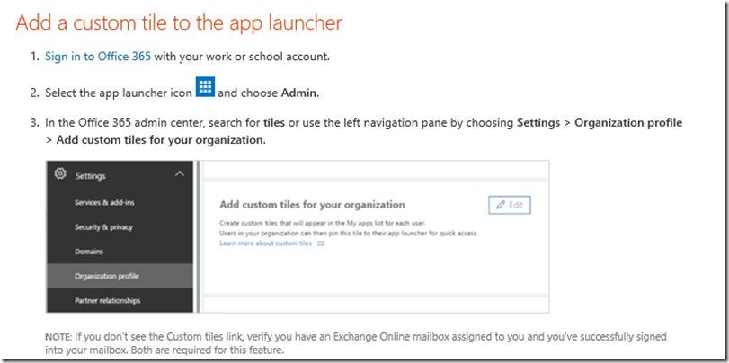 add a custom tile to the app launcher