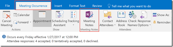meeting occurrence tab for meeting notes