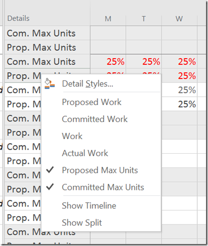 select fields of committed and proposed max units