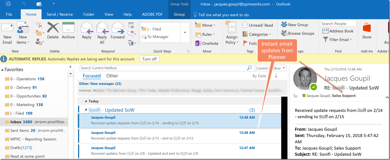 instant email updates from planner