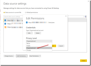 Data Source Privacy Level Change May Resolve Power BI